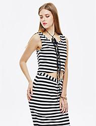 les femmes heartsoul de sortir t-shirt d'été simple, imprimer col rond manches polyester noir / spandex mince