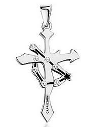 The Zodiac Personality Titanium Steel Cross Pendant - The Magic Capricorn