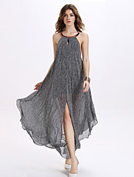 Women's Party/Cocktail / Club Sexy A Line / Chiffon Dress,Print Halter Maxi Sleeveless Gray Polyester