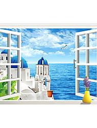 3D Romance False Window Blue Aegean Sea Castle 3D Wall Stickers Fashion Living Room Bedroom Wall Decals