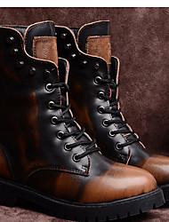 Calçados Femininos-Botas-Coturno-Salto Grosso-Preto / Marrom-Couro-Ar-Livre / Casual