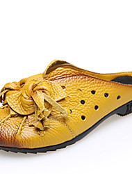 Women's Shoes Nappa Leather Spring / Summer / Fall Slippers Slippers & Flip-Flops Casual Flat Heel Black / Yellow / Red