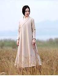 Mulheres Casaco Trench Casual Chinoiserie Outono / Inverno,Sólido Bege Lã Colarinho de Camisa-Manga Longa Média