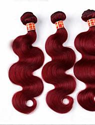 3pcs / lot burdeos onda del cuerpo armadura brasileña virginal del pelo lía de vino 6a remy 99j rojo extensiones de cabello humano enredo