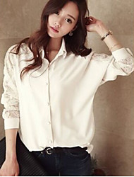 Maternity Shirt Collar Lace Blouse,Polyester Long Sleeve