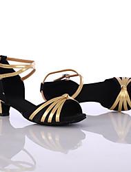 Women's Dance Shoes Leather Leather Latin / Dance Sneakers Heels Low Heel Indoor / PerformanceBlack / Blue Customizable
