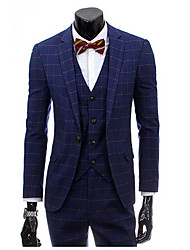 Suits Slim Fit Notch Single Breasted One-button Cotton Blend Checkered / Gingham 3 Pieces Straight FlappedNone (Flat