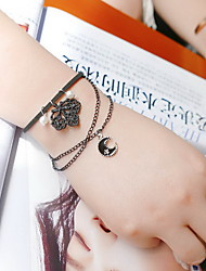 Black Lace Tiny Bracelet with Moon Pendant