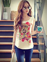 Rosa Doll® Damen Rundhalsausschnitt Ärmellos Shirt & Bluse Weiß-X15BST005