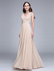 2017 Lanting Bride® Floor-length Chiffon Bridesmaid Dress - V-neck with Draping
