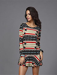 In Colour Women's Round Neck Long Sleeve Knee-length Dress-41759442939