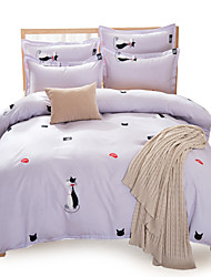 Cartoon Cat Pattern Polyester 4PC Duvet Cover Sets