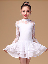Latin Dance Dresses Children's Performance Lace / Milk Fiber 2 Pieces Black / White / Burgundy Long Sleeve Natural
