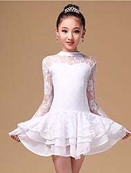 Danse latine Robes Enfant Spectacle Dentelle Fibre de Lait Dentelle 2 Pièces Manche longue Taille moyenne Robe Short