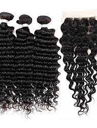 "3 Bundles Brazilian Virgin Remy Deep Wave Hair 300g With 4""x4"" Lace Closure Human Hair Extensions Bundles"