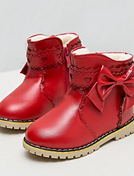 Girls' Shoes Casual PU Boots Winter Snow Boots Low Heel Bowknot Black / Pink / Red / Gray