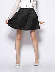Women's Solid Red / Black Skirts,Street chic Mini