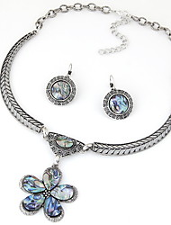 Silver Gem Opal Stone Flower Pendant Choker Necklace Jewelry Set