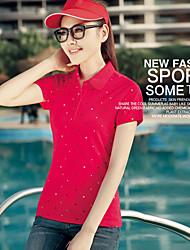 Damen Blumen Einfach Lässig/Alltäglich T-shirt,Hemdkragen Sommer Kurzarm Blau / Rot / Lila Baumwolle Mittel