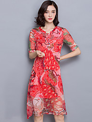 Women's Casual/Daily Chinoiserie Swing Dress,Print Round Neck Knee-length ½ Length Sleeve Red Rayon Summer