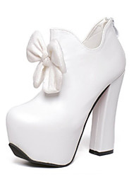 Women's Shoes PU Spring / Fall Heels Boots Party & Evening / Dress Chunky Heel Bowknot Black / White