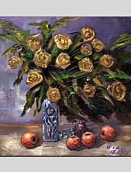 Peint à la main A fleurs/Botanique Peintures à l'huile,Style européen / Modern / Classique / Traditionnel / Réalisme / Méditerranéen /