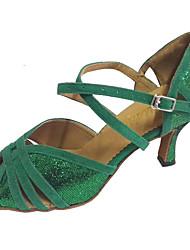Sapatos de Dança(Verde) -Feminino-Personalizável-Latina / Salsa