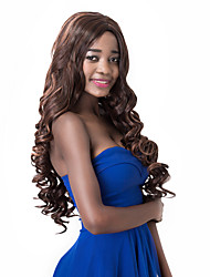 European Vogue Long Sythetic Mixed Brown Party Wig For Women