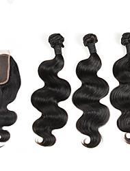 4 Peças Onda de Corpo Tramas de cabelo humano Cabelo Indiano Tramas de cabelo humano Onda de Corpo