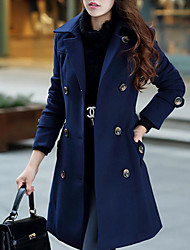 Women's Casual/Daily Simple Coat,Solid Notch Lapel Long Sleeve Fall / Winter Blue Wool / Polyester Medium
