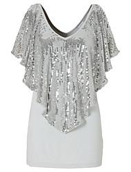 Damen Patchwork Street Schick Lässig/Alltäglich T-shirt,V-Ausschnitt Sommer Kurzarm Baumwolle Polyester Mittel