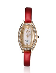 2016 Luxury Noble Fashion Quartz Diamond Rose Gold Case Red Leather Women Watches