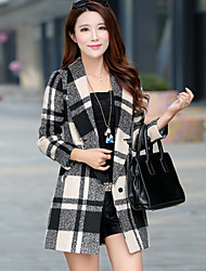 Women's Casual/Daily Simple Coat,Print Shirt Collar Long Sleeve Winter Blue / Red / Black Acrylic Thick