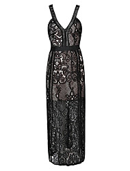 Women's Party/Cocktail /Evening / Club Sexy A Line / Lace Dress,Floral Deep V Maxi Sleeveless Blue / Black Cotton