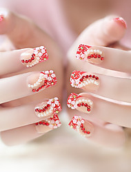 24PCS Fashion Red Carving Flower Nail Tips