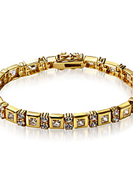 Classic Round and Square shape 2 plating Colors Clear White Cubic Zirconia Brass Chain Bracelet for women