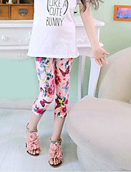 Girl's Casual/Daily Print Pants,Polyester Summer Blue / Pink / Red / White
