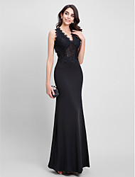 TS Couture® Formal Evening Dress Trumpet / Mermaid V-neck Ankle-length Jersey with Lace