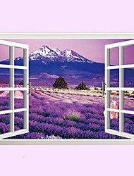 3D Lavender Flowers False Window Landscape 3D Wall Stickers Removable Living Room Bathroom Kitchen Wall Decals