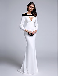 TS Couture Formal Evening Dress - Color Block Trumpet / Mermaid Straps Sweep / Brush Train Chiffon with Pleats