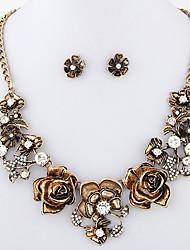 las mujeres conjuntos de época brillante de diamantes collar de flores pendiente europeo de la moda de estilo de metal