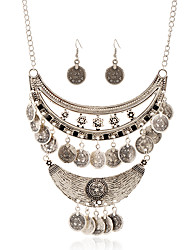 European And American Retro Carved Alloy Coin Tassel Earrings Necklace Set