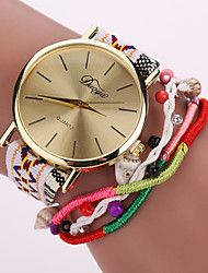 Women's Gold Case Leather Fabric Bracelet Watch for Party Wrist Watch