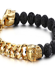 Men's Beads Bracelet Stainless Steel Gold Plated Punk Skull / Skeleton Black/Yellow Jewelry 1pc