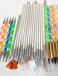 15pcs nail art tools brushes+5PCS Nail Art Acrylic Pen Brush+5PCS 2-Way Nail Art Dotting Tool