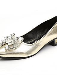 женская обувь кристалл лакированной кожи комфорт / острым носом квартиры офис&карьера / вскользь плоский каблук