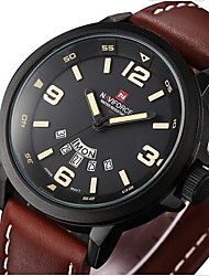 NAVIFORCE Men's Military Watch Calendar Quartz Japanese Quartz Leather Band Casual Luxury Black Brown