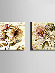 E-HOME® Stretched Canvas Art Flowers Blooming Like A Piece Of Brocade Decoration Painting  Set of 2
