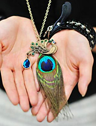 National Wind Retro Peacock Feathers Full Diamond Long Necklace Sweater Chain