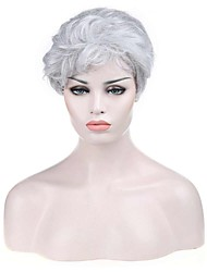 Natural Short White Color Popular Curly Synthetic Wig For Woman